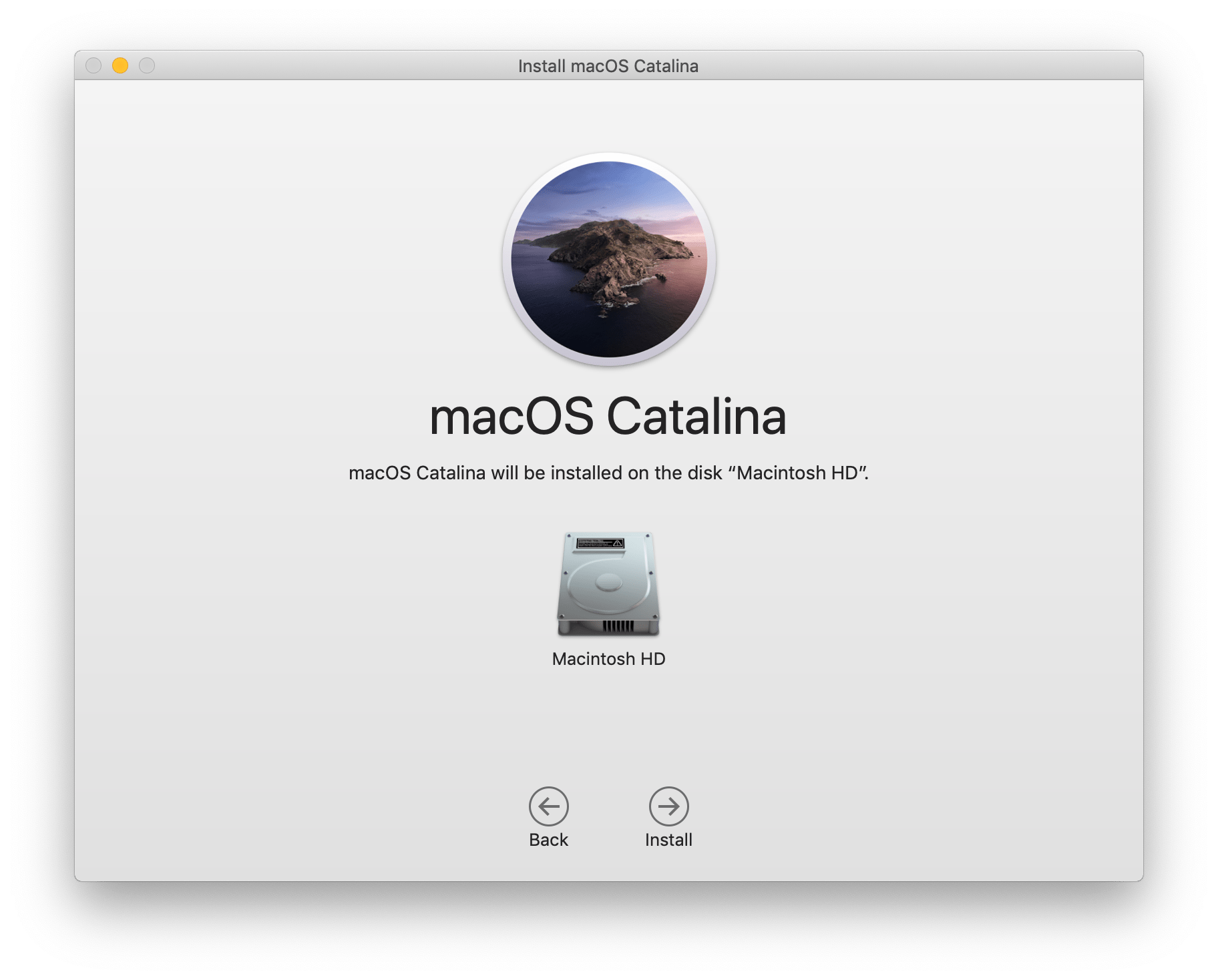 Image showing the first installation screen of the macOS Catalina installer.