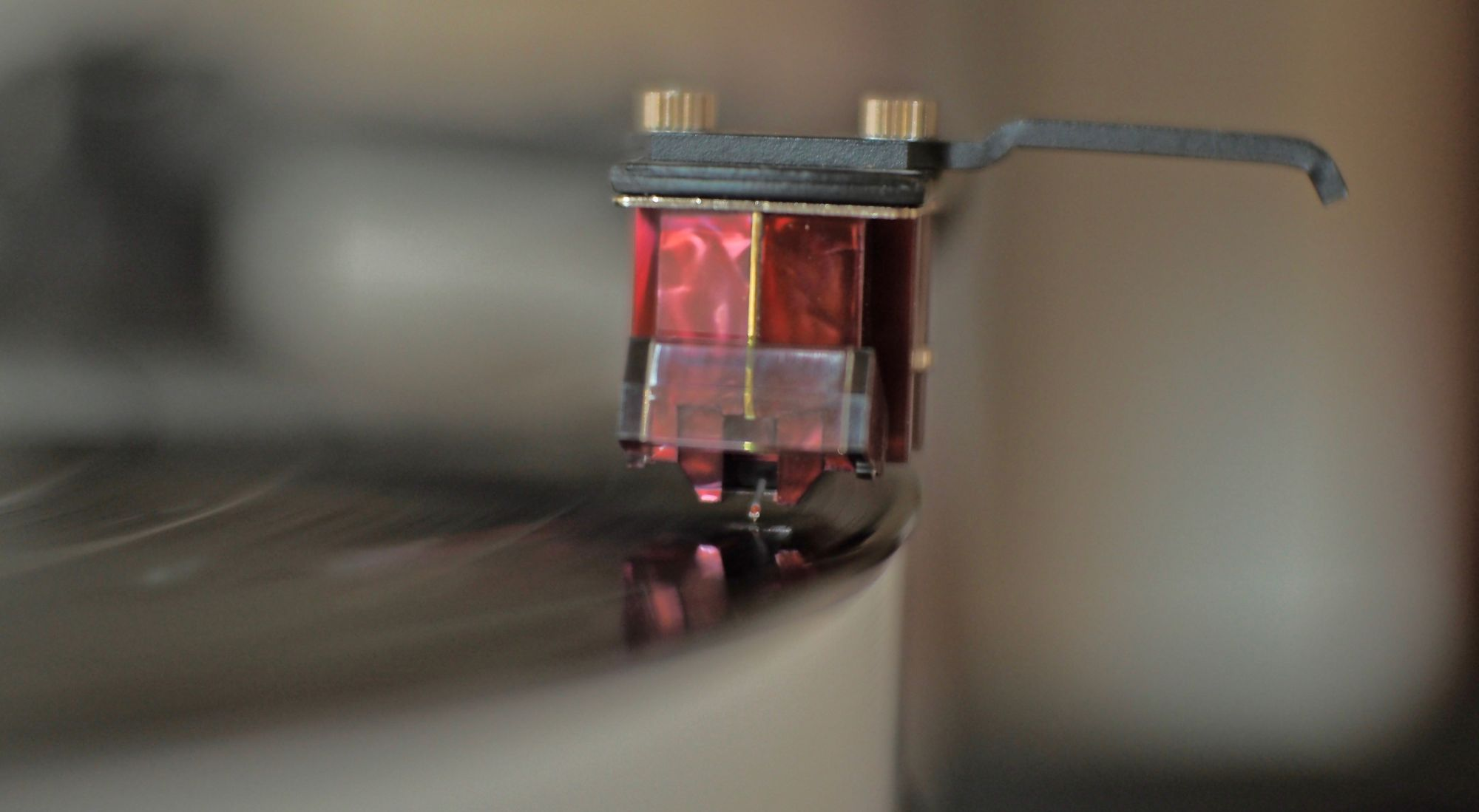 Image showing a close-up of the Denon DL-110 whilst playing a record
