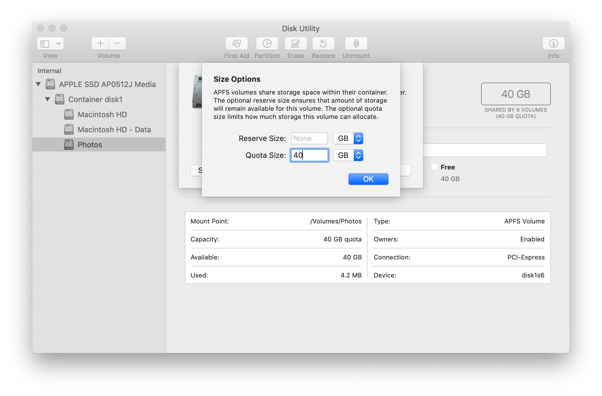 Screenshot showing Disk Image's new volume size options view.