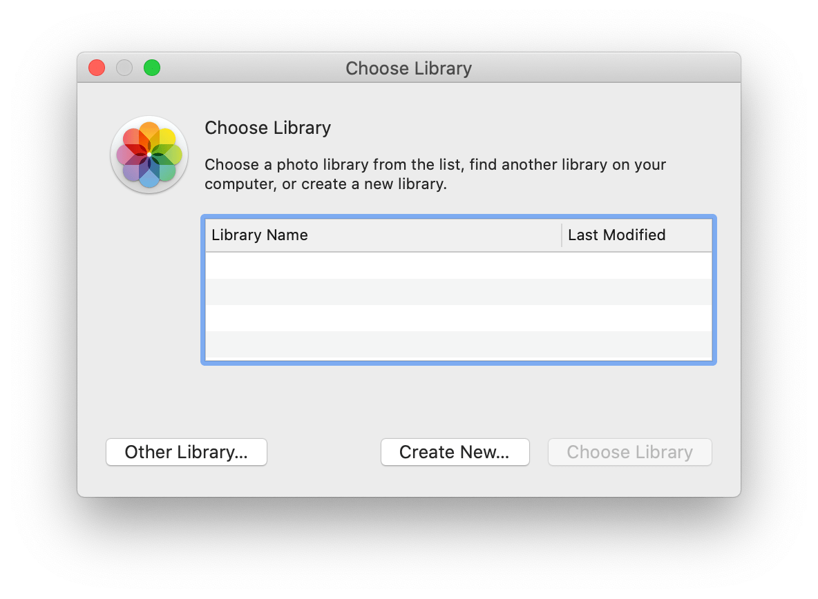 Screenshot showing the library selector UI from the Photos app