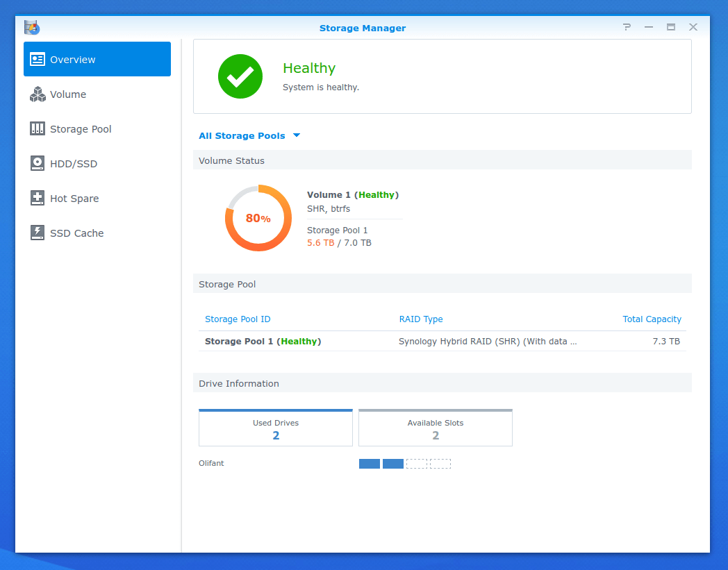 The Synology Storage Manager showing the two 8TB drive pool being about 80% full.
