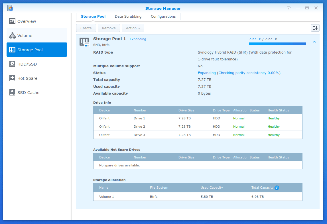 Screenshot of the Synology Storage manager showing the beginning of storage expansion after a third drive has been added to the pool