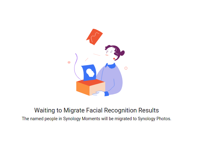 """Screenshot showing """"Waiting to Migrate Facial Recognition Results"""""""
