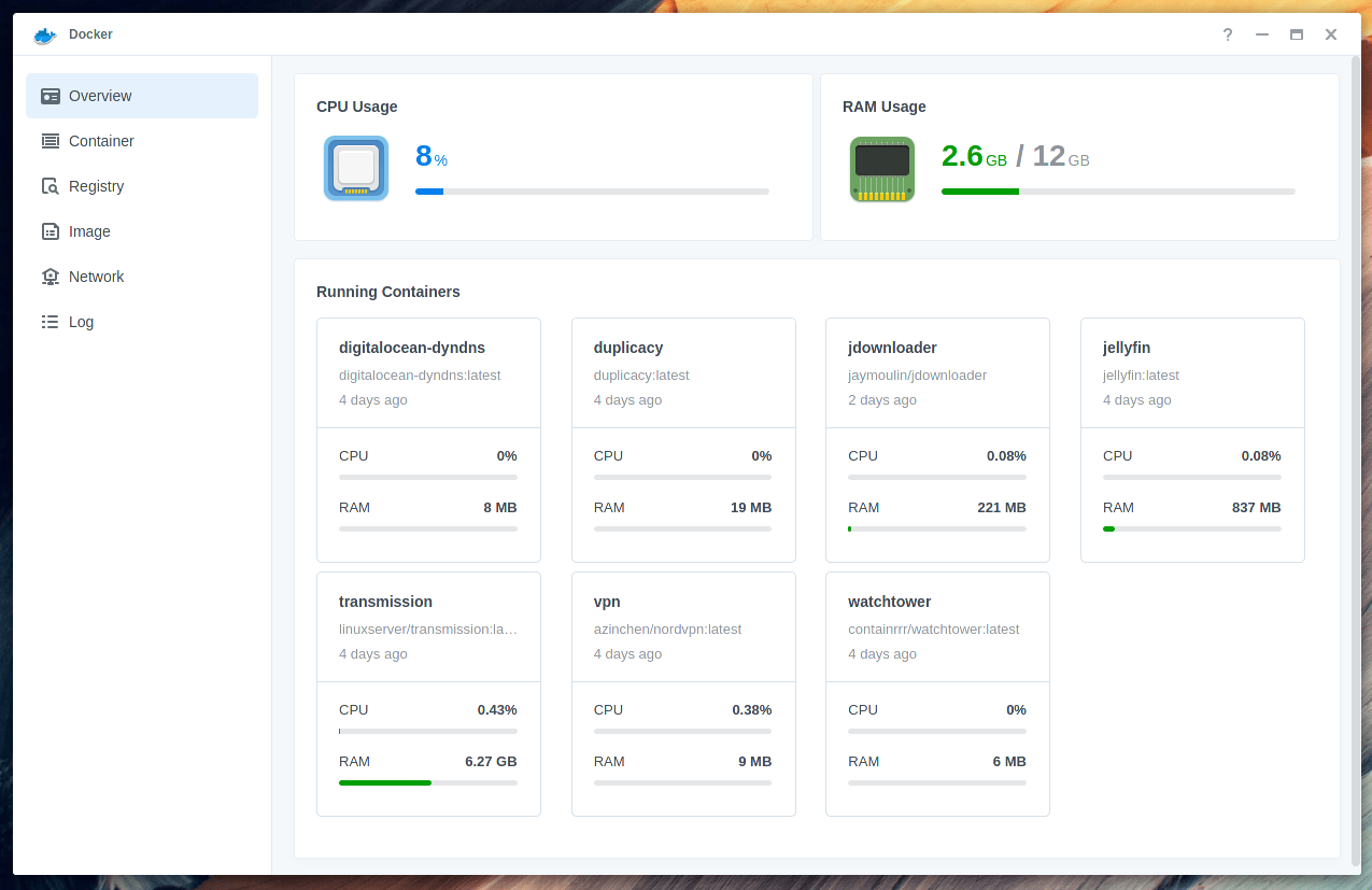 Screenshot showing several docker containers running, including Duplicacy, Jellyfin, and some downloaders